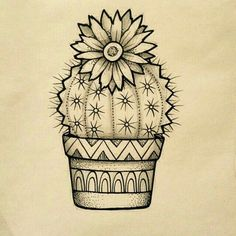 Except with a more simple terracotta pot. Love that! Except with a simpler terracotta pot. Cactus Drawing, Cactus Art, Cactus Plants, Drawing Flowers, Cactus Flower, Cacti, Easy Drawings, Pencil Drawings, Blackwork