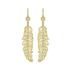 Penny Preville Diamond Center Feather Earring