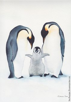 Svetlana Markina (LechuzaS) ( scene based on photo). Penguin Watercolor, Penguin Drawing, Penguin Art, Watercolor Animals, Watercolor Paintings, Panda Wallpapers, Animal Graphic, Watercolor Journal, Native Art