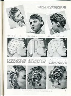 Beauty is a thing of the past: Lay a Good Foundation for Perfect Waves Source: American Hairdresser, November 1942 Hair, finger waves and the perfect hair set. http://beautyisathingofthepast.blogspot.com/