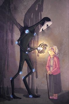 One of them changed a light bulb for her, the porch light. She's offering to sell the old lightbulb, which has been touched by an Angel. It was the black Angel, if that sweetens the pot for anyone.