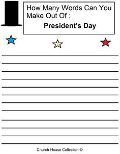 Mrs zelmas family moved from new zealand to australia they see how many words they can make out of presidents day we have a matching presidents day sunday school lesson fandeluxe Gallery