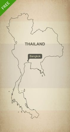 Free download of Thailand outline vector map. Royalty free high resolution JPEG and vector format (layered, editable, AI, EPS and PDF).