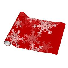 Girly red and white Christmas snowflakes Wrapping Paper