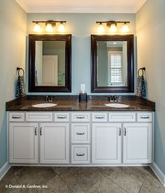 Dual vanity in the master bathroom of The Weatherford, plan 1053. http://www.dongardner.com/house-plan/1053/the-weatherford. #MasterBathroom #HomePlan #Design