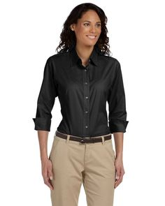 Devon & Jones Button Up Blouse DP625W 3/4 Sleeve Stretch Poplin XL Black