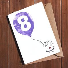 8th Birthday Card Age 8 Eight Year Old Today For A Girl Boy Daughter Son Hand Lino Printed Cute