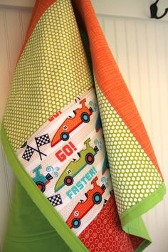 Lime Green Race Cars BOY Quilt by KeinasKreations on Etsy, $85.00