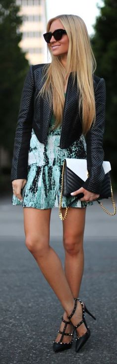 Street style | Green graphic dress with leather moto jacket