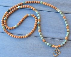 Gorgeous 108 aromatic Sandalwood Mala Necklace or bracelet wrap with AfricanTurquoise , 6mm Aromatic Sandalwood imported from India wood