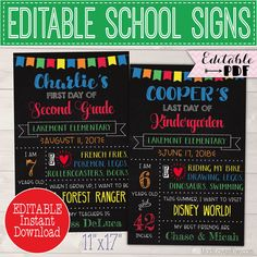Capture the memories of your child's first and last day of school with these primary colored school signs! | MadiLovesKiwi.com | First day of school sign, last day of school sign, chalkboard school sign, stats poster, end of school ideas, back to school gift ideas, editable pdf templates, last day photo props, #backtoschool #endofschool #firstdayofschool #lastdayofschool