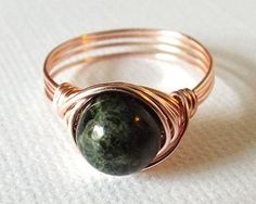 Tourmaline Ring Green Tourmaline Ring Wire Wrap by PepperandPomme