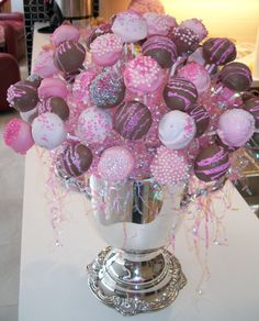 The cake pop arrangement for baby Hailey's shower