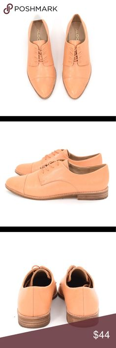 Aldo tan leather menswear-inspired oxfords Sleek minimalist flat oxfords from Aldo. Light tan matte leather (or could be faux leather it's hard to tell and the content label on the bottom says that parts are real leather and parts are faux) Very lightly worn and no signs of wear above sole. *slight manufacturer's defect on the front, see last pic. You can see the little dots for the manufacturer to match up the pieces for sewing, fairly faint. Size 8.5 Aldo Shoes Flats & Loafers