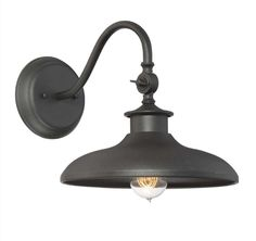 Raliegh 11 Inch Tall 1 Light Outdoor Wall Light - Raleigh from Savoy House is a wall lantern that draws its style inspiration from the classic appeal of farmhouse lighting. It has a curved arm and wide shade all finished in black.