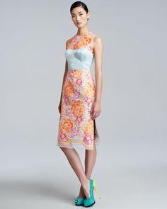 A thing of beauty.  Floral-Embroidered Sheath Dress, Neon Peach/Blue by Erdem at Neiman Marcus.