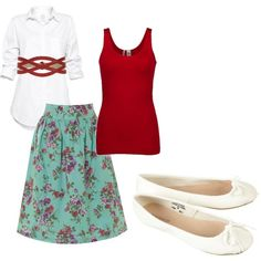 My outfit 5.23.12, except my skirt is brown and turquoise, so the tank and belt are brown