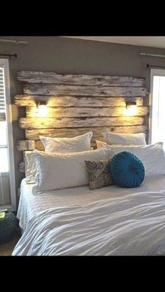 Please check out more of my work on https://instagram.com/plan_b_redesigns/   hand made queen size headboard. Has 2 distressed reading lamps that operates 1 or 2 switches, your choice. wood surfaces are sanded very smooth. Prices vary on size. Painting/staining is available. i do a wide array of custom/handmade wood projects modeled after ideas from Pinterest and Etsy. Headboard head board Feel free to text, email or call me at 910.381.8551 thanks for looking, Daniel.