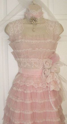 pink vintage dress form | Flickr - Photo Sharing!                                                            This looks like a dress my mother would have made...delicate and lovely!