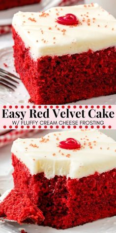 This easy red velvet cake is fluffy, moist, topped with cream cheese frosting, and has the most beautiful red color. It has the perfect red velvet flavor that's slightly tangy with a milk chocolate taste. Easy to make Bolo Red Velvet Receita, Red Velvet Cake Rezept, Perfect Red Velvet Cake Recipe, Easy Red Velvet Cake, Red Cake, Red Velvet Sheet Cake Recipe, Easy Moist Red Velvet Cake Recipe, Red Velvet Cake Recipe From Scratch, Red Velvet Cake Frosting