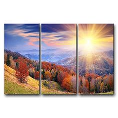 So Crazy Art® 3 Pieces Wall Art Painting Sunrise Over The Mountains Prints On Canvas The Picture Landscape Pictures Oil For Home Modern Decoration Print Decor For Girls Room So Crazy Art http://www.amazon.com/dp/B00M930I3U/ref=cm_sw_r_pi_dp_KcMDvb0P95CQW