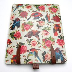 $90 Leather iPad (1 and 2 ) case - Birds & Roses design (for when I get my ipad)
