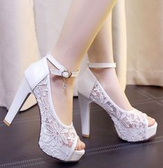 Plus size summer lace sandal pumps shoes for woman TG906 white black beige lace wedding shoes peep toes super high block heels