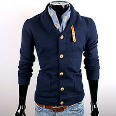 CUBFACE Men's Royal Blue V Neck Business Leisure Fit Sweater