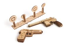 Wood Trick Wooden Toy Guns Set with Targets Shooting Range, Pistol Toy Guns for Kids Set - & Mouser - Wooden Puzzle, Assembly Model, Best DIY Toy - STEM Toys for Boys and Girls Wooden Model Kits, Metal Model Kits, Metal Models, Woodworking Kits, Learn Woodworking, Woodworking Machinery, 3d Puzzles, Wooden Puzzles, City Puzzle