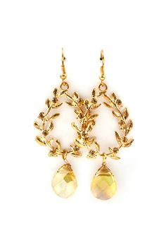 Crystal Laurel Earrings in Riesling