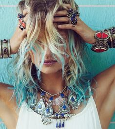 #mermaid #blue #hair loving blue streaks right now...take it from me, don't put it in before working out!!!!! Lol