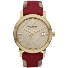 Burberry Watch, Women's Swiss Haymarket Check and Red Leather Strap... ($495) ❤ liked on Polyvore