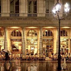 Cafe, rainy street