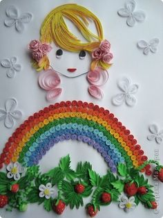 "Хомячок Challenge: Итоги квиллинг-задания № 3 ""Дары лета"" - Quilled Rainbow, a Cute Little Girl, Butterflies, and Strawberry Blossoms and Berries - so cute. - I'd name this one ""April Showers""."