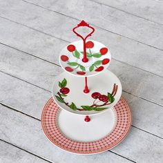 Ranier: Cherry and Gingham 3 Tier Cake Stand, Farm to Table Wedding Decor, Vintage Cake Stand, Red and White