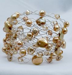 Golden fresh water pearls.