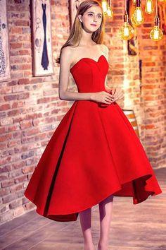 2018 Prom Dresses #2018PromDresses, Prom Dresses High Low #PromDressesHighLow, Prom Dresses Red #PromDressesRed