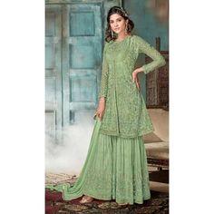 94e0f3d3b9 Pakistani Style Designer Green Color Net Palazzo Kameez - 397047888 #sharara  #salwarkameez #designer. heenastyle.com