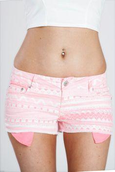 Neon Pink Aztec Print Cut Off Shorts