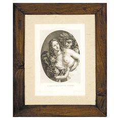 """ESCUELA FRANCESA SIGLO XIX  REFERENCIA:  3943-4  """"Nymphe"""".    Grabado.      Medidas: 28 x 20 cm.      Marco de caoba."""