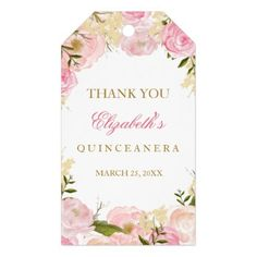 #party - #Elegant Pink Rose Quinceanera Favor Tags