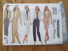 Butterick UNCUT Pattern 3158 for Misses Jacket, Top, Skirt and Pants in sizes 6-8-10. All options in this pattern require 2.5 yard or less.