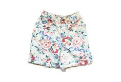 vintage girls shorts 1980s floral print denim by diaphanousvintage