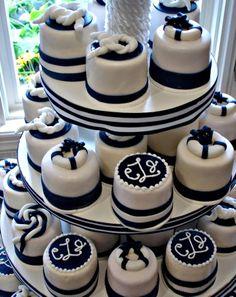 Love these nautical minicakes