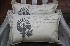 Rustic Windpump Pillowcase | Mooi Goete Cushion Ideas, Scatter Cushions, Windmills, Soft Furnishings, Interior Ideas, Bed Pillows, Pillow Cases, Projects To Try, Wings