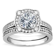 Cathedral Halo Diamond Engagement Ring and Matching Wedding Band