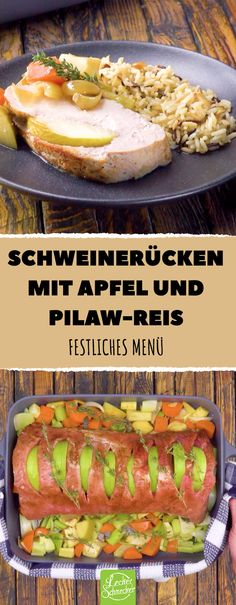 Bereite einen Braten mit leckeren Beilagen zu - auch das Richtige für den Sommer! #rezept #rezepte #schwein #schweinerücken #braten #apfel #pilaw #reis #beilage #gemüse #pastinake #sellerie #saftig #fruchtig #fest #festessen #leicht