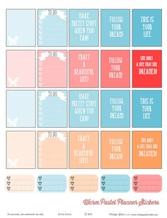 Warm-Pastel-Planner-Stickers | Free printable download. For Personal use only. [ My latest release]