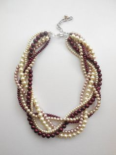 Wine bordeaux ivory mauve champagne braided by WildStoneJewels