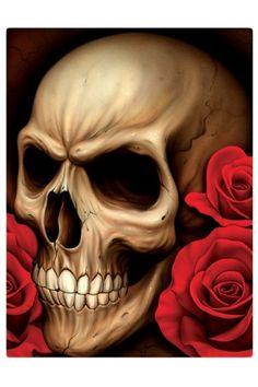 Skulls: #Skull with roses.